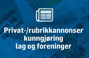 Privatannonser/rubrikkannonser, Lag og foreninger