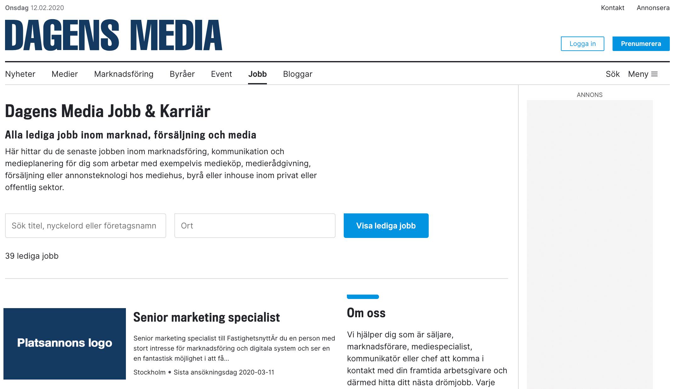 Webbannons & Sociala medier