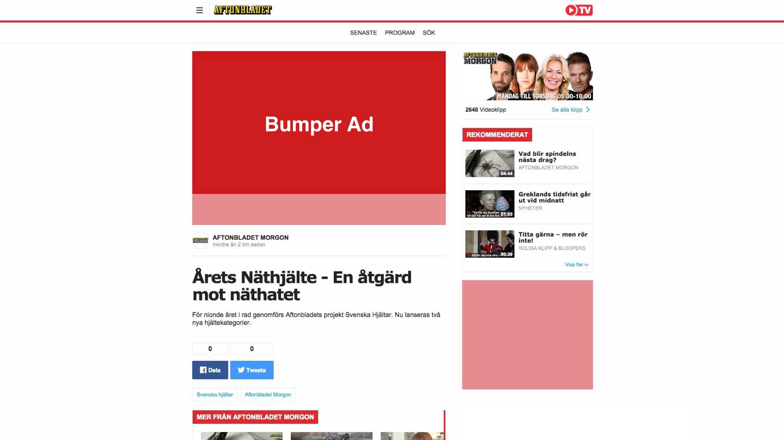 Bumper ad  - Desktop
