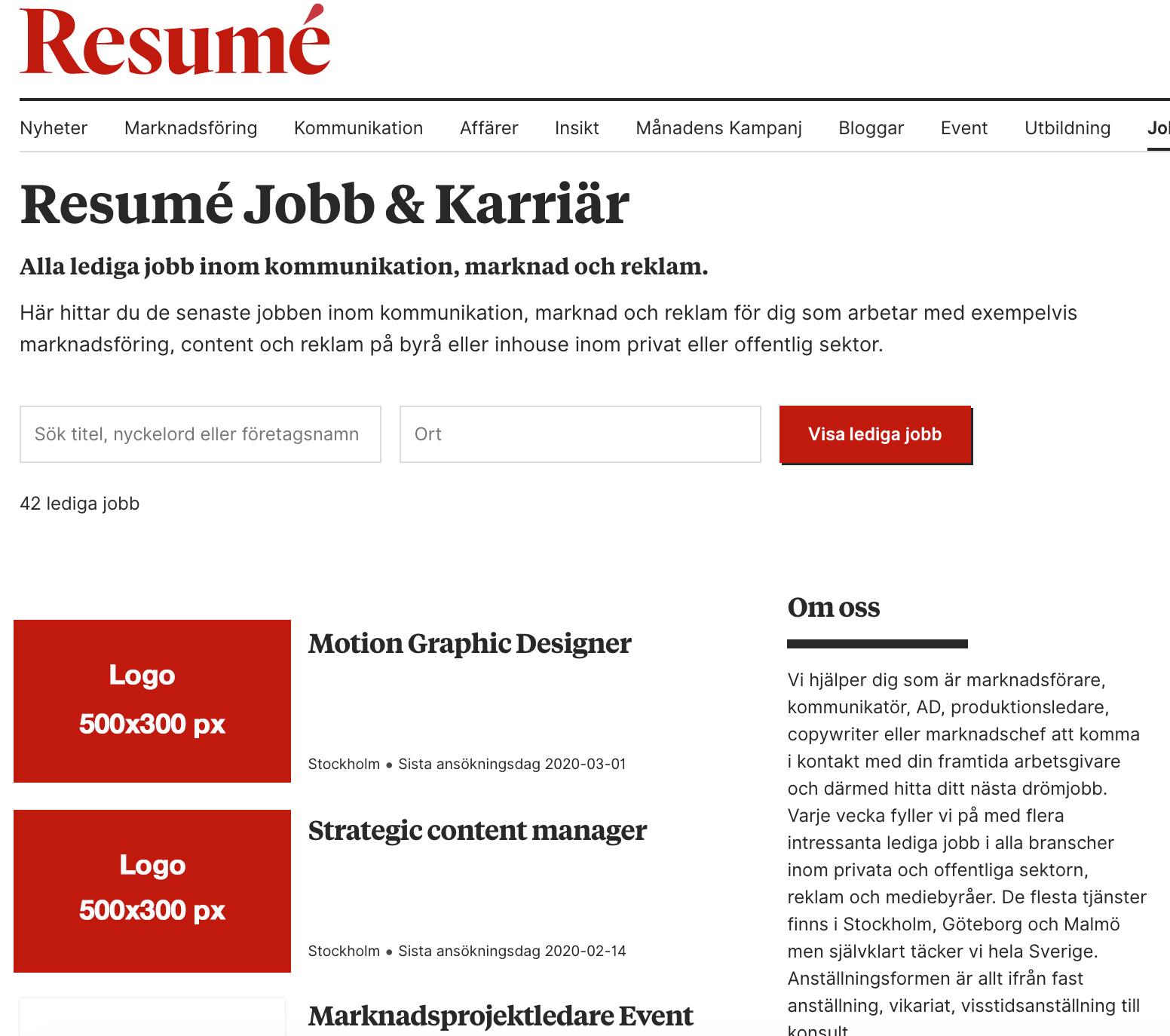 Resume.se/jobb 30 dagar