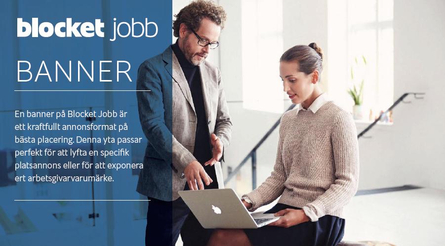 BANNER på Blocket Jobb - i jobblistningen med 100 % SOV i relevant kategori