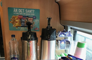 Skylt kaffebuffén